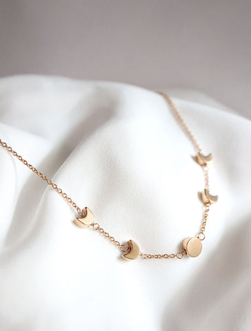 gold filled moon phase necklace