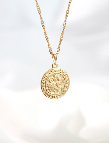 14k gold filled st. christopher necklace