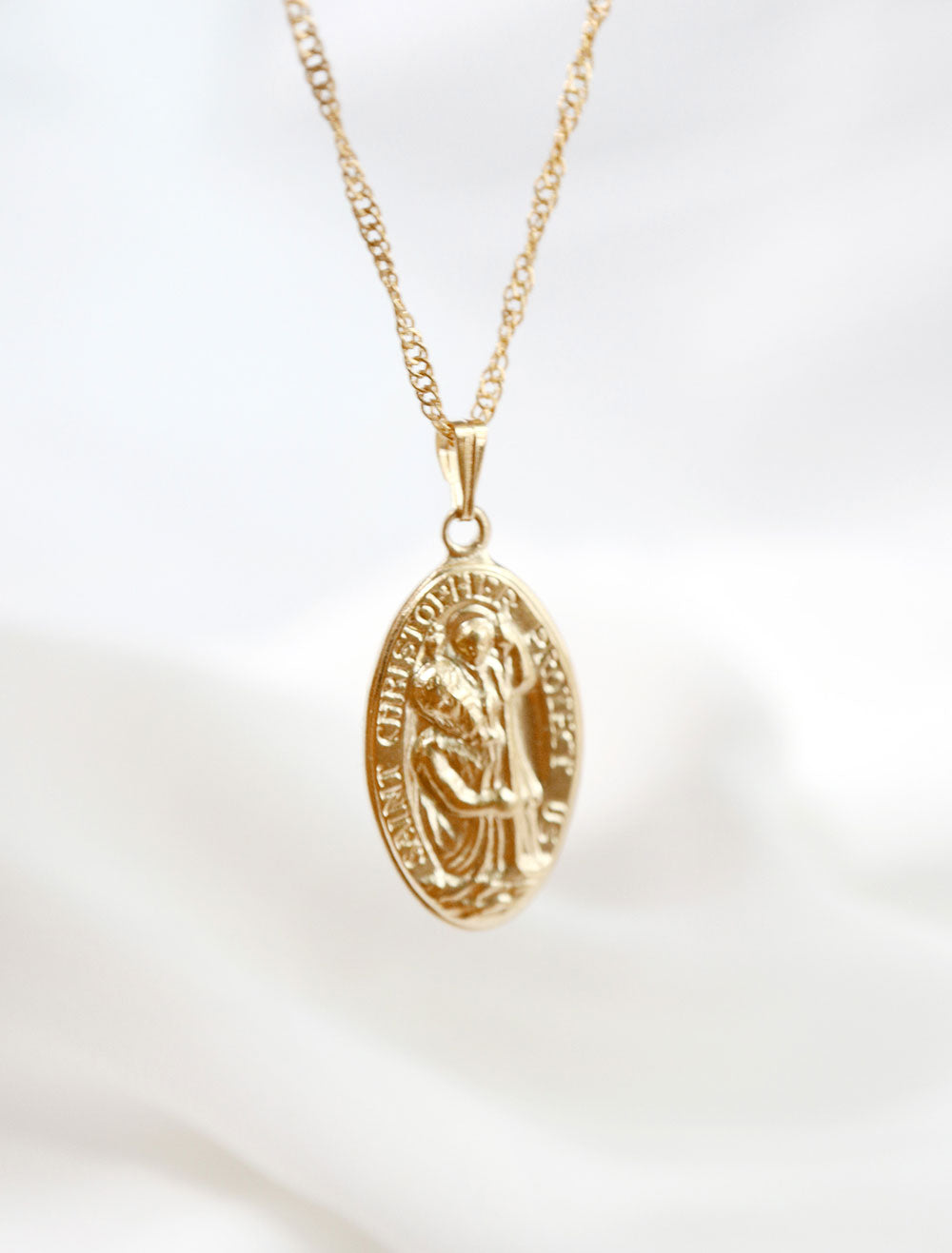 14k gold filled large st christopher pendant