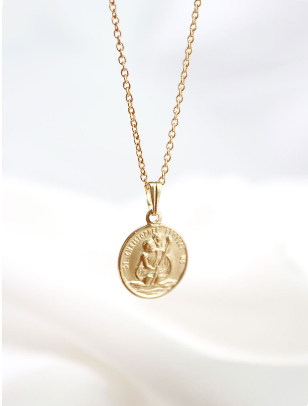 tiny gold filled st. christopher necklace
