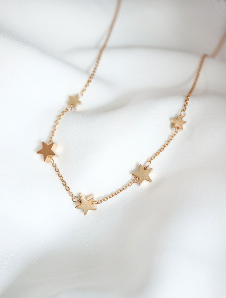 gold filled string of stars necklace
