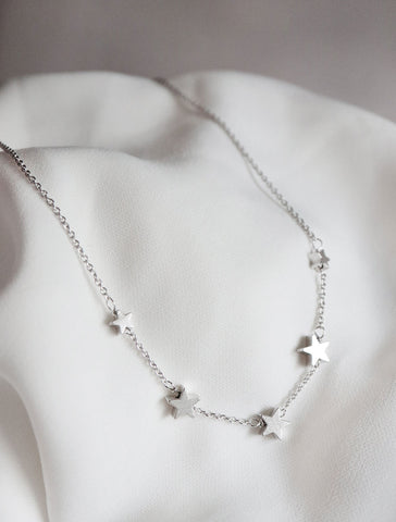 silver string of stars necklace
