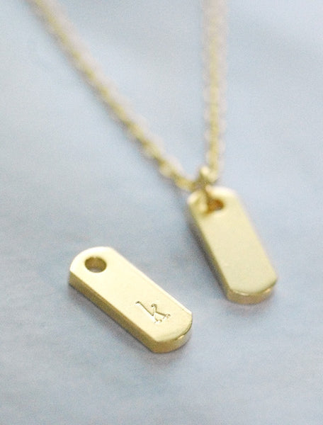 tiny initial dog tag necklace
