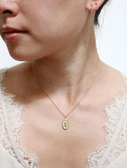 gold filled miraculous medal necklace modelled