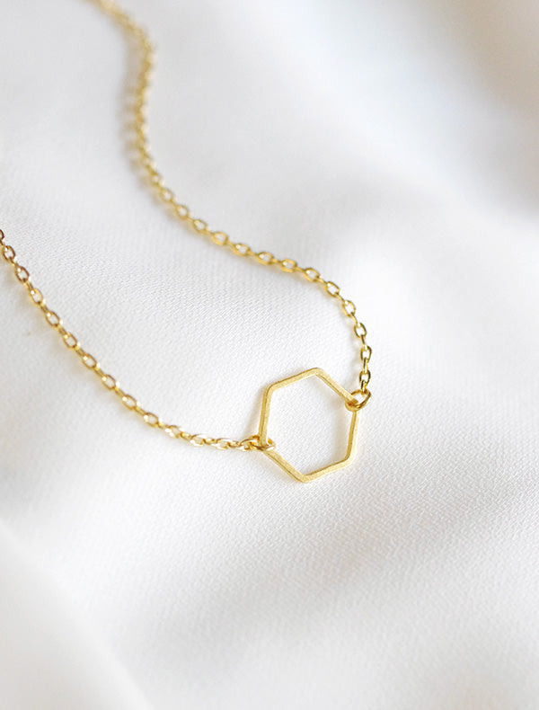 open hexagon necklace