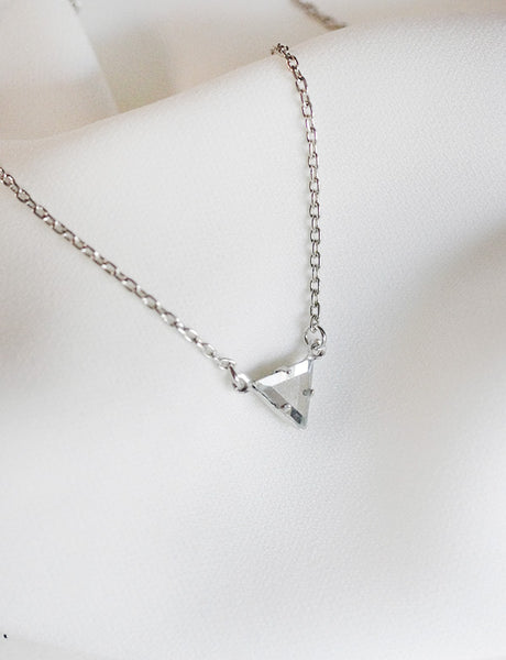 silver triangle gemstone necklace