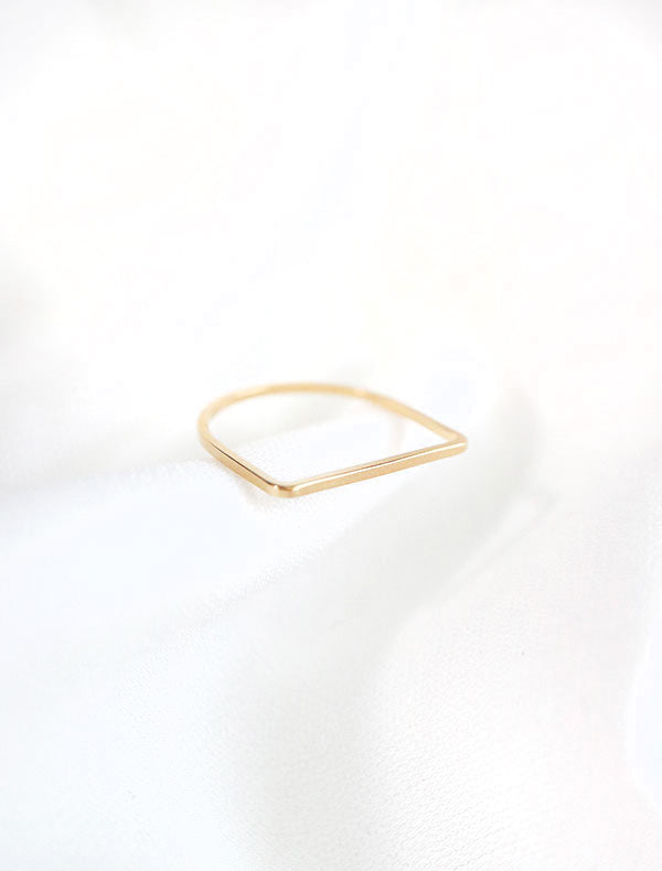 gold filled D shaped ring