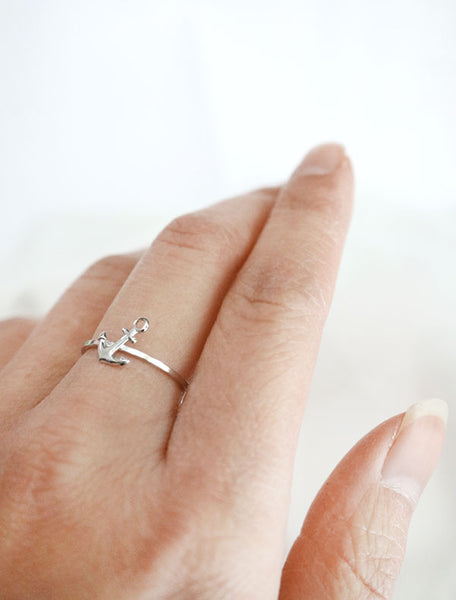 silver anchor stacking ring worn