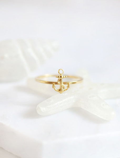 tiny gold anchor ring