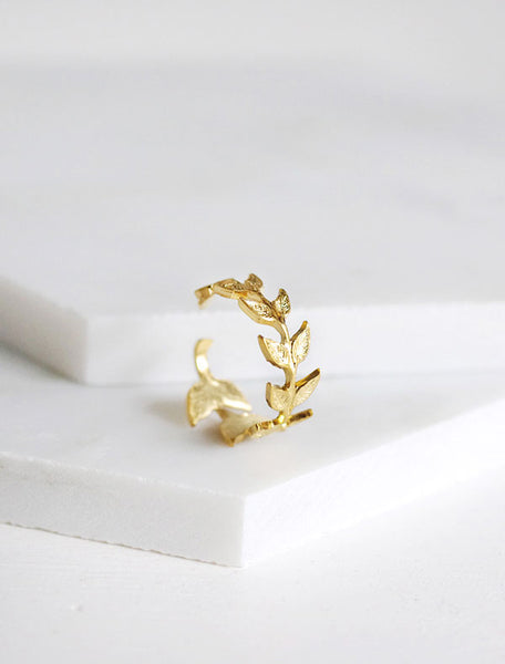 gold olive branch ring