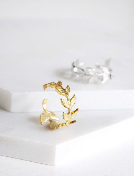 gold and silver leaf rings