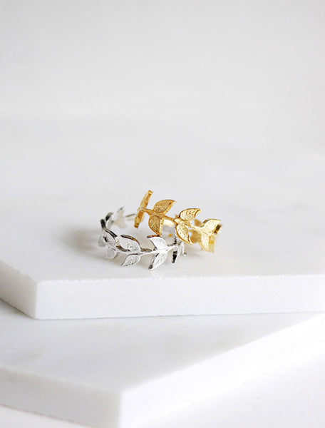 gold and silver willow leaf rings