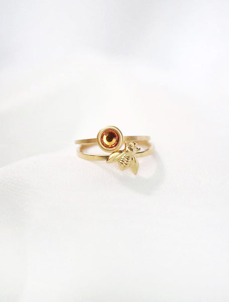 gold bee stacking ring set