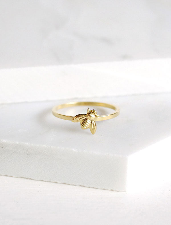 tiny bee stacking ring in gold