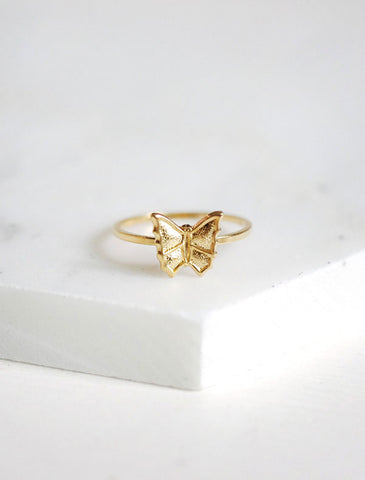 small gold butterfly ring