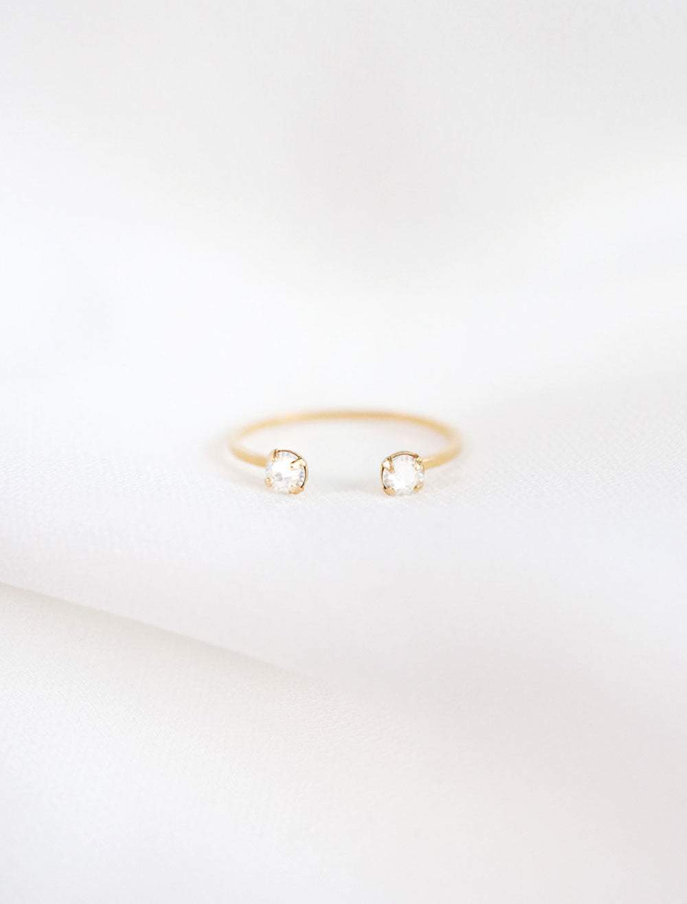 14k gold filled cuff ring with 2 faux diamond crystals