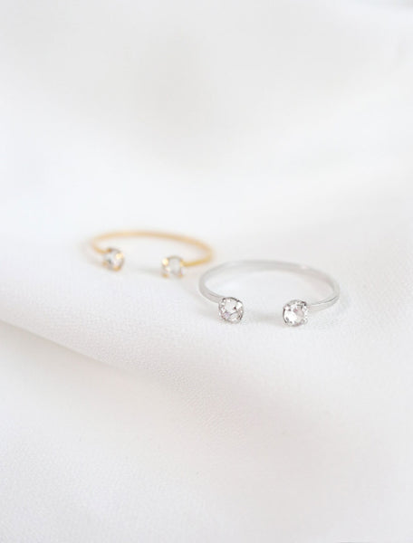 gold and silver cuff rings with double crystals