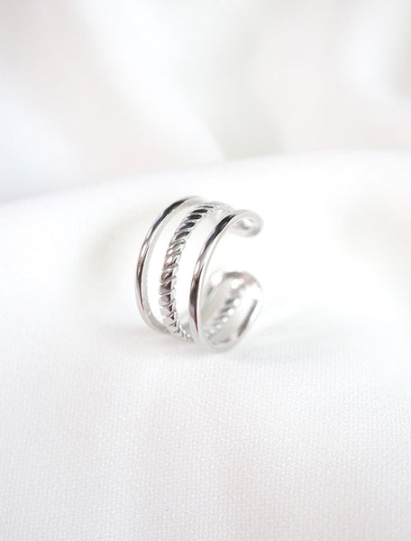 adjustable silver dainty cage ring