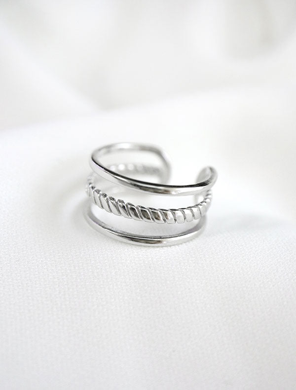 silver dainty cage ring