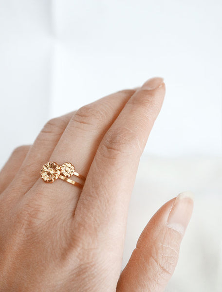 gold flower stacking rings