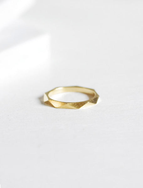 gold macro faceted ring