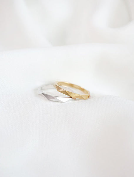 macro faceted ring in gold and silver