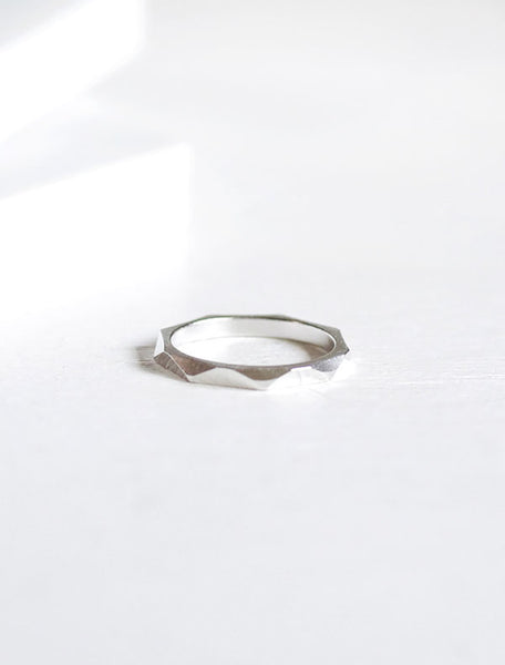silver macro faceted ring