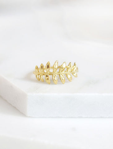 gold fern leaf ring