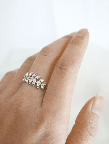 silver fern leaf ring worn