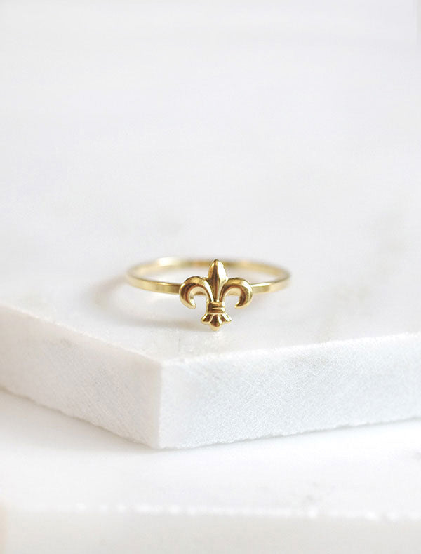gold fleur de lis stacking ring