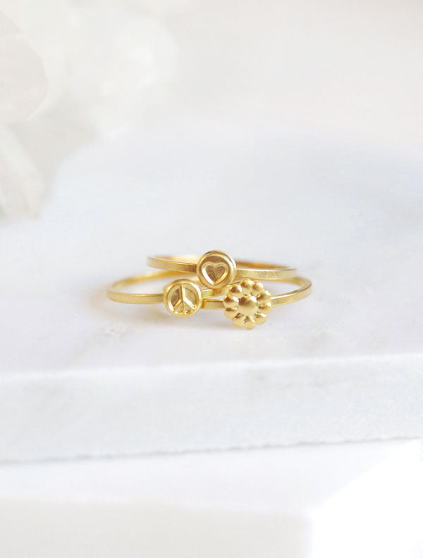 gold hippie stacking rings