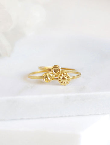 bumble and honey rings . set of 2