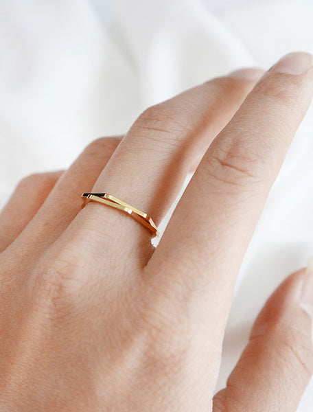 stacked set of 2 gold hexagon rings