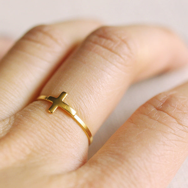 gold sideways cross ring