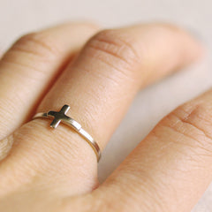 silver sideways cross ring