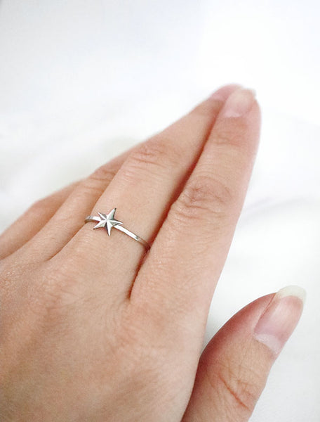 silver make a wish star ring modelled
