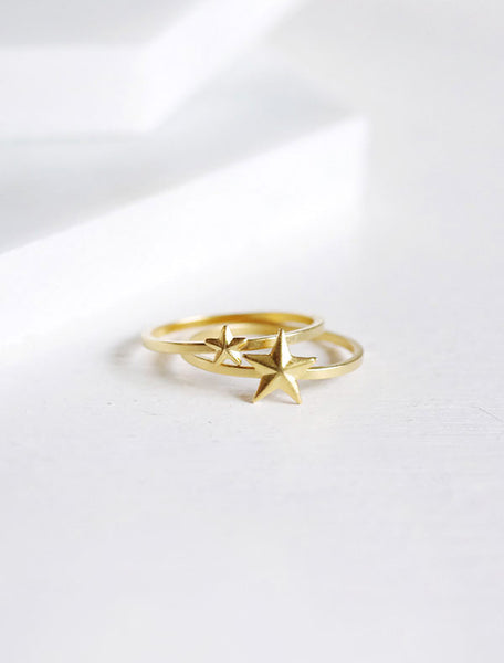 gold star stacking rings