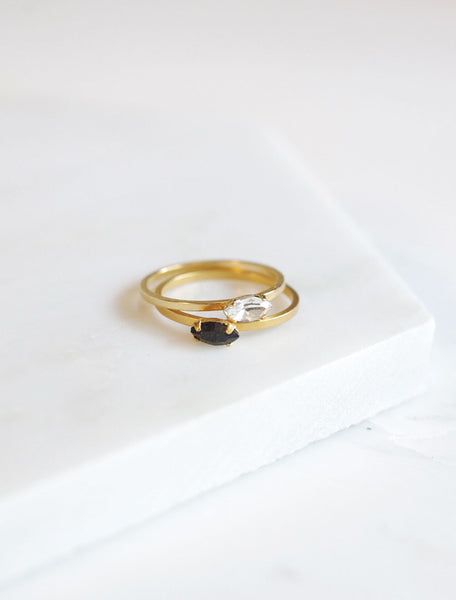 gold filled marquis rings in clear and black crystals