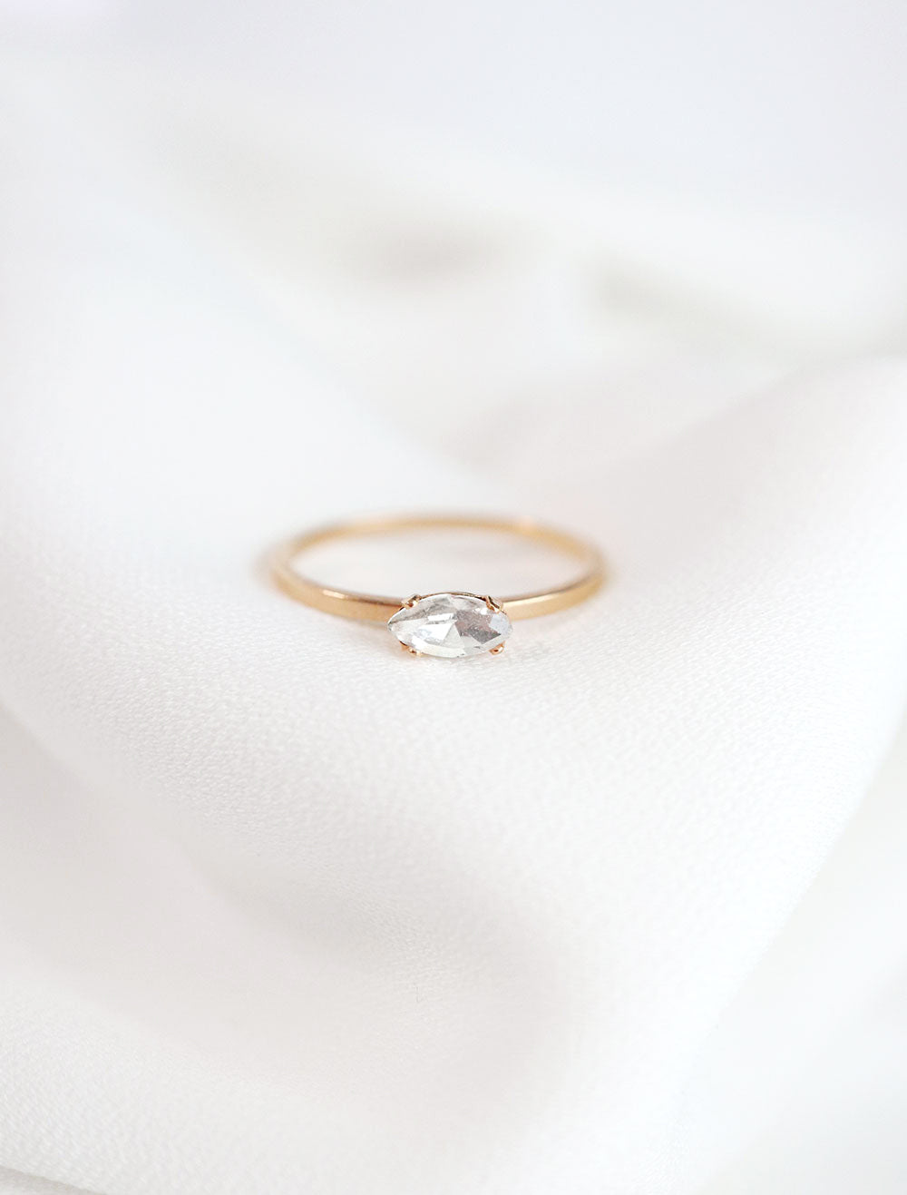 horizontal marquis crystal ring in gold and clear