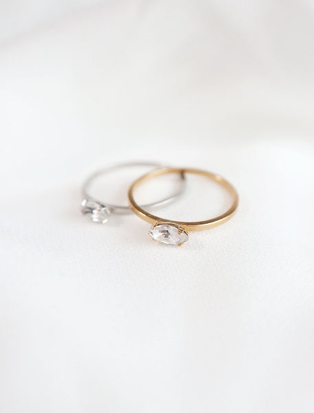 silver and gold filled marquis crystal rings in clear