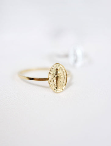 pave virgin mary hoop earrings