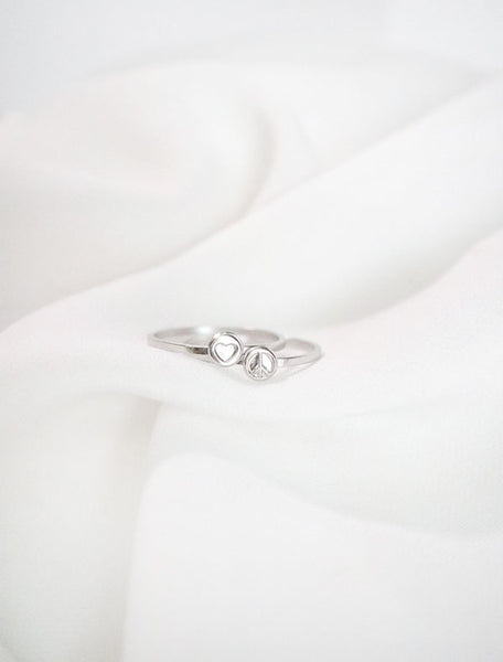 peace and love silver stackable ring set