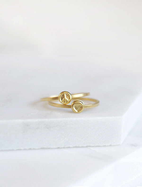 gold peace and love stacking ring set