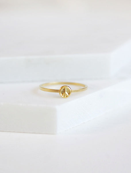 tiny gold peace sign ring