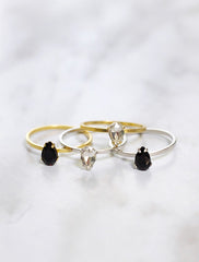 silver & gold crystal teardrop rings in black and clear