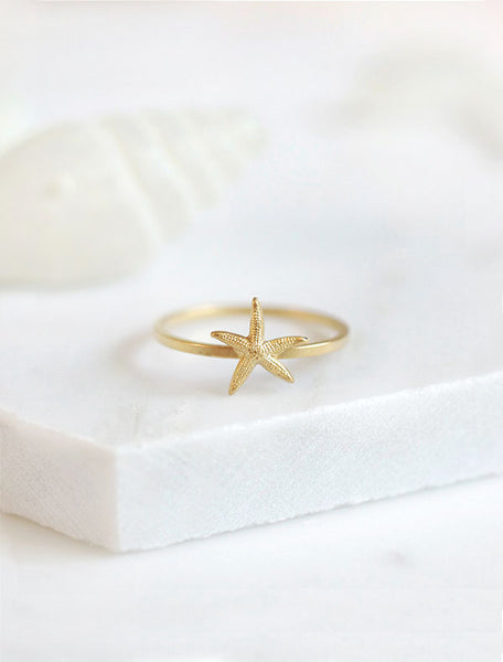 gold starfish ring