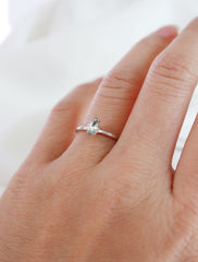 silver filled crystal teardrop ring modelled