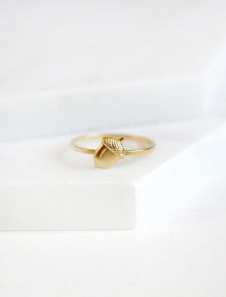 tiny gold acorn ring