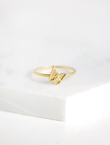 tiny gold butterfly stacking ring