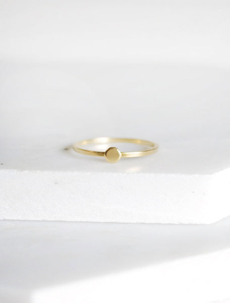 tiny gold circle disc ring